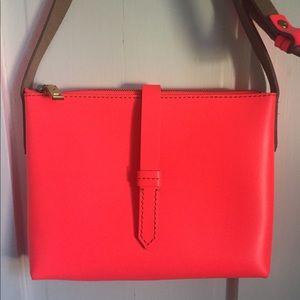 JCrew Hot Pink Leather Crossbody Bag Purse